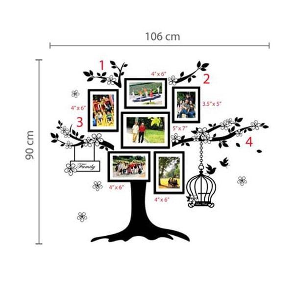 Naklejka ścienna Drzewo z ramkami na zdjęcia