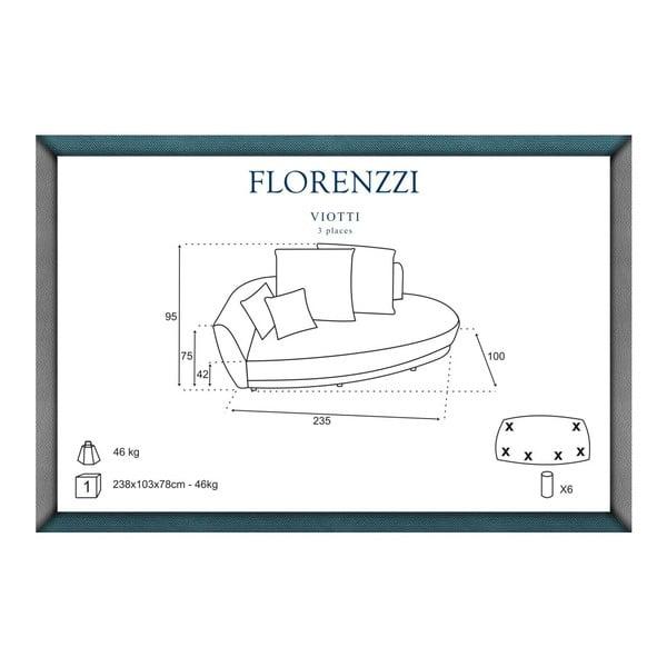 Sofa trzyosobowa z oparciem po lewej stronie Florenzzi Viotti Red/Light Grey
