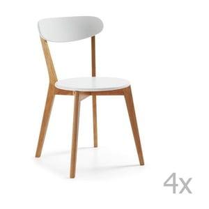 Zestaw 4 białych krzeseł z drewnianymi nogami La Forma Luana