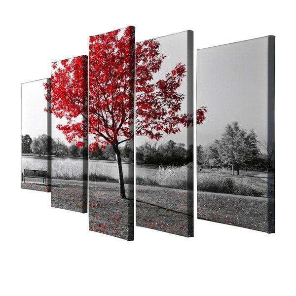 Obraz pięcioczęściowy Red Tree