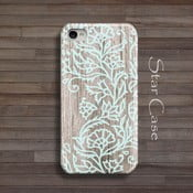 Etui na iPhone 4/4S Wood Floral Blue