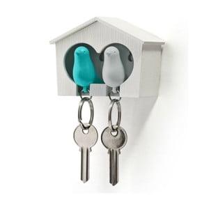 Budka z zawieszkami na klucze QUALY Duo Sparrow, biała/niebieska