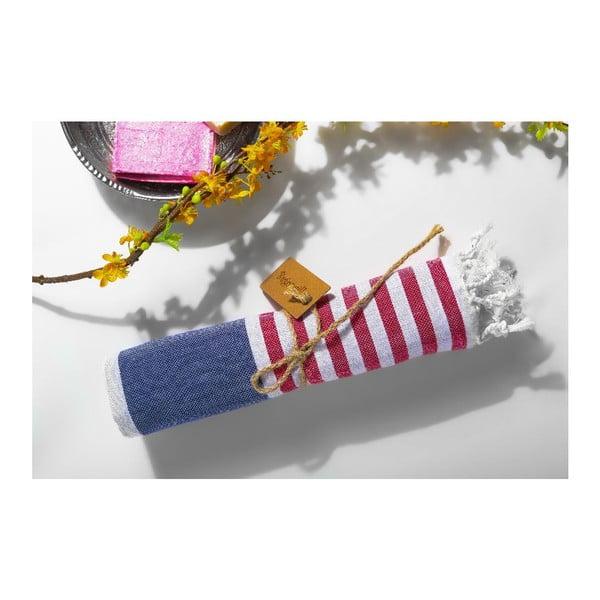 Ręcznik hammam Ellis Blue/Red, 100x180 cm