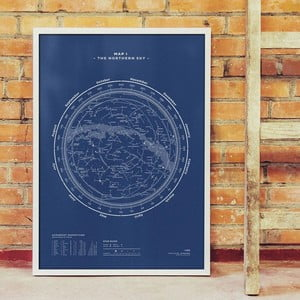Plakat The Northern Sky Night Blue, 50x70 cm