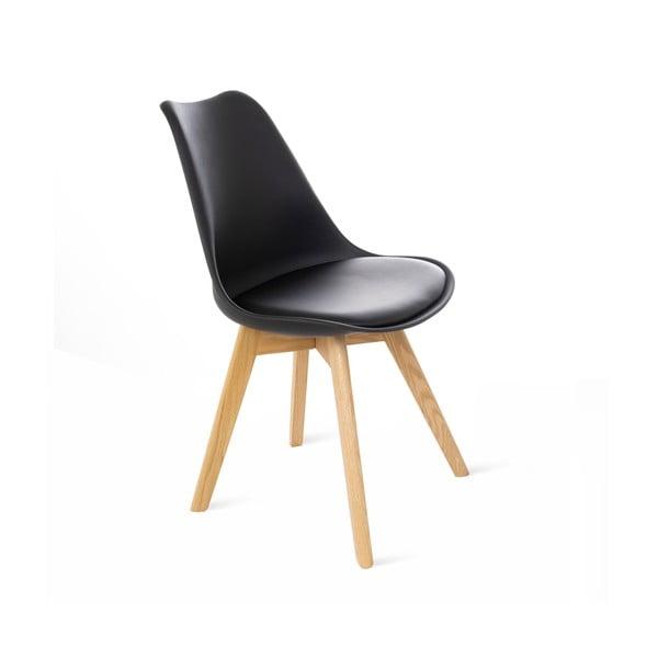 Czarne krzesło z bukowymi nogami loomi.design Retro