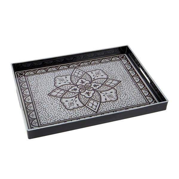 Plastikowa taca, 48x4 cm, czarno-biała