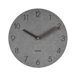 Šedé nástěnné dřevěné hodiny Karlsson Dura, ⌀29 cm