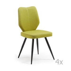 Zestaw 4 zielonych krzeseł La Forma Tina