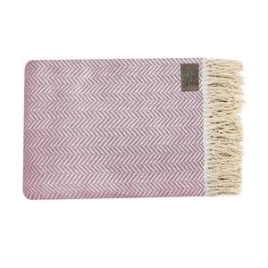 Różowy pled bawełniany Zig, 130x170cm