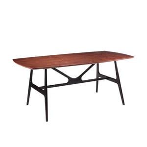 Stół w dekorze drewna orzechowego z czarnymi nogami sømcasa Gabby, 180 x 90 cm