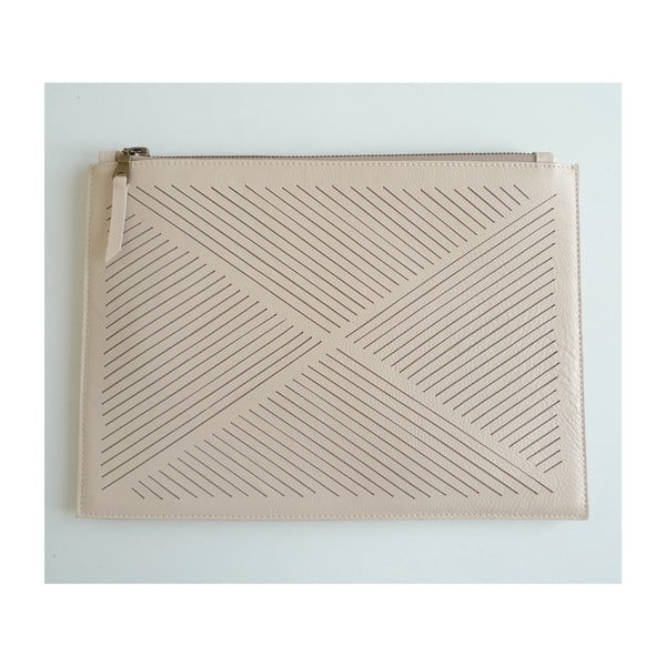 Skórzana torebka na ramię/kopertówka Cut Out, kremowa
