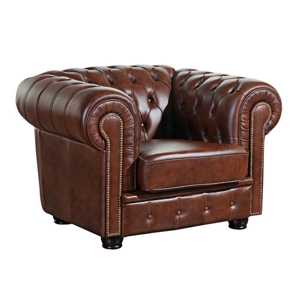 Brązowy fotel skórzany Max Winzer Norwin