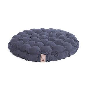 Niebieskoszara poduszka do siedzenia wypełniona piłeczkami do masażu Lindy Vrňáková Bloom, Ø 65 cm