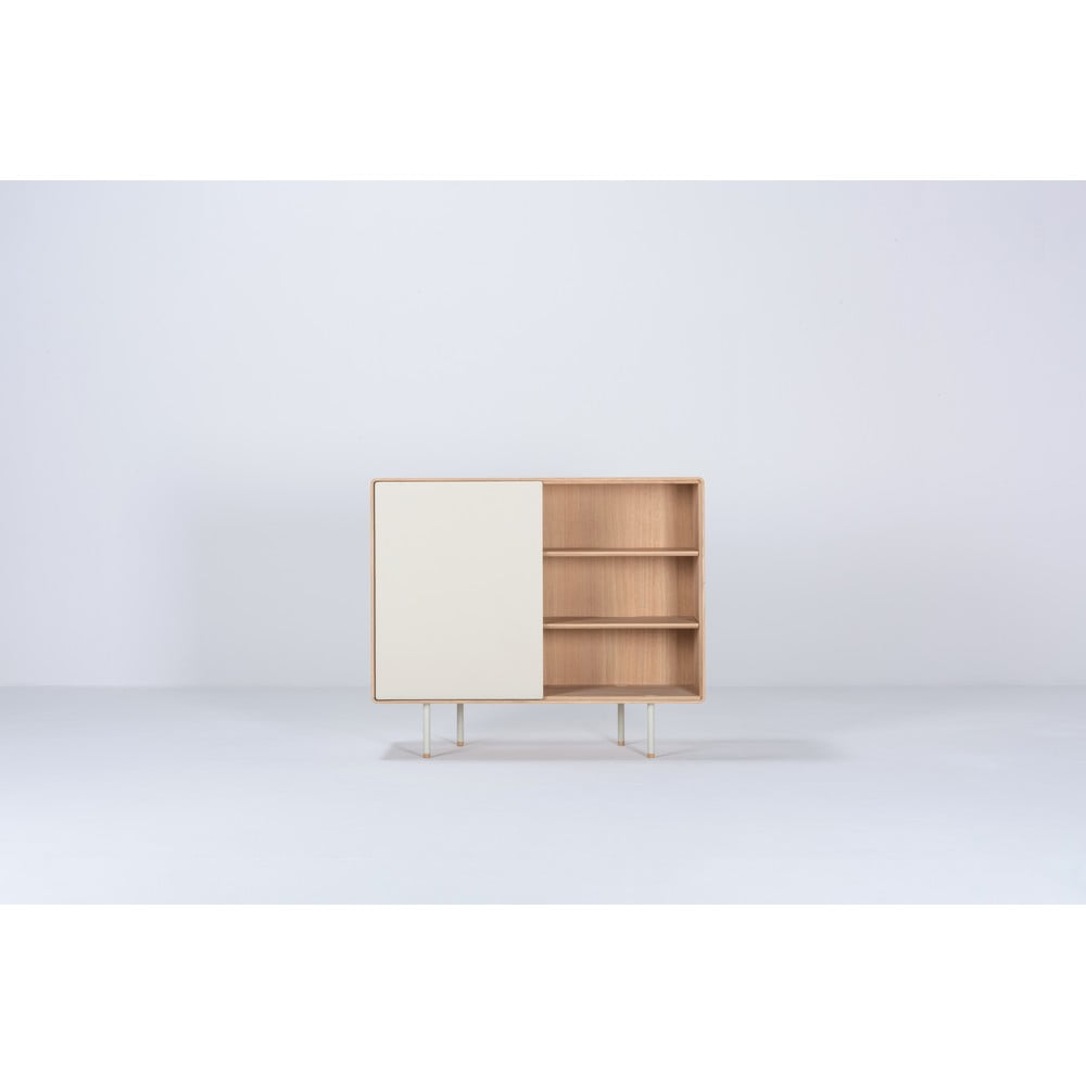 Biała szafka z drewna dębowego z drzwiczkami Gazzda Mushroom