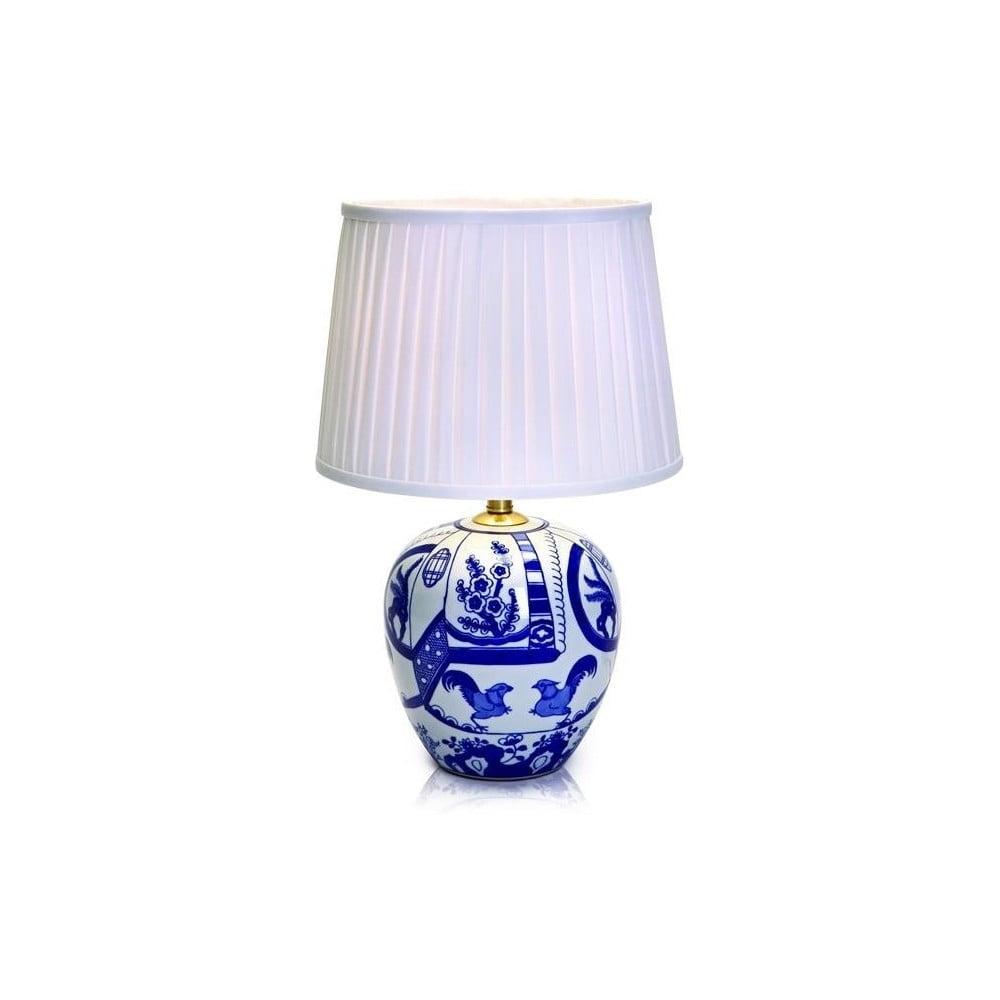 Niebiesko-biała duża lampa stołowa Markslöjd Goteborg