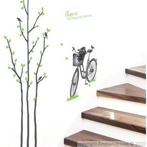 Naklejka Green Tree and Bike, 50x50 cm