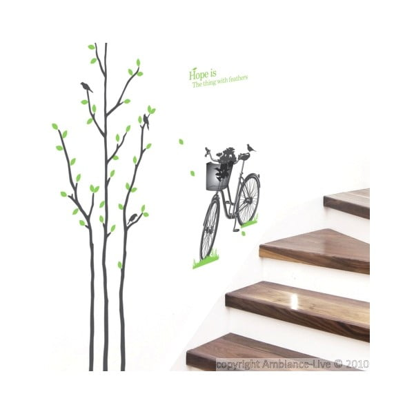 Naklejka Green Tree and Bike, 50x50 cm