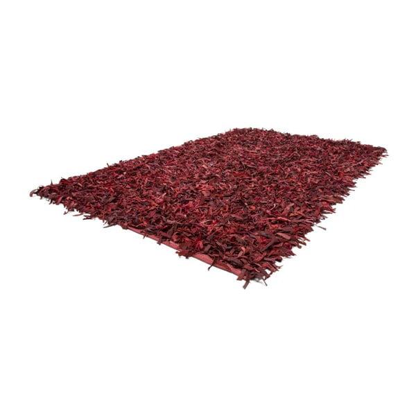 Czerwony skórzany dywan Rodeo, 160x230cm