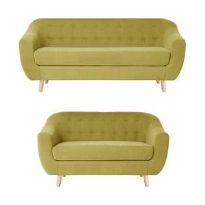 Żółty zestaw 2 sof dwuosobowej i trzyosobowej Jalouse Maison Vicky