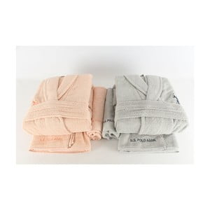 Komplet 2 szlafroków i 4 ręczników US Polo Orange Pastel