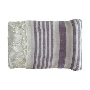 Fioletowo-biały ręcznie tkany ręcznik z bawełny premium Petek,100x180 cm