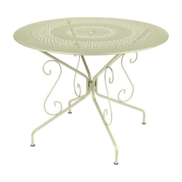 Jasnozielony stół metalowy Fermob Montmartre, Ø 96 cm