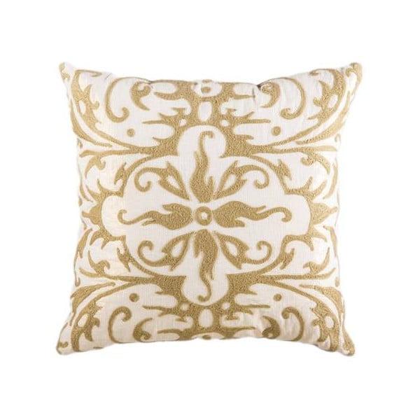 Poszewka na poduszkę, kremowa ze złotym ornamentem
