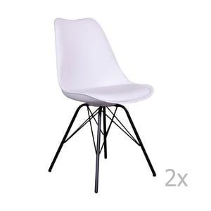 Zestaw 2 białych krzeseł z czarnymi nogami House Nordic Oslo