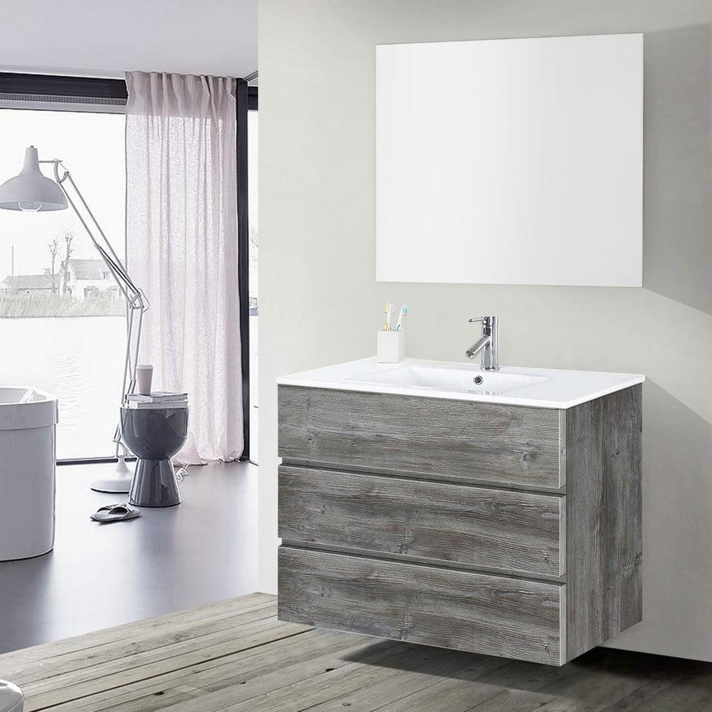 Szafka Do łazienki Z Umywalką I Lustrem Nayade Motyw Vintage 100 Cm Bonami