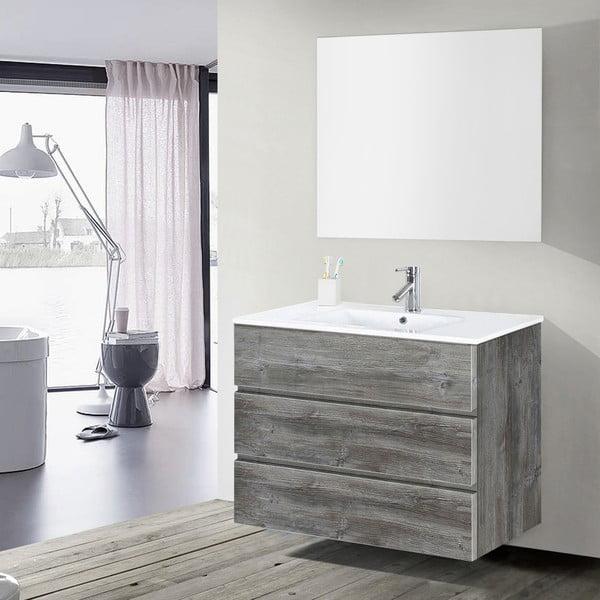 Szafka do łazienki z umywalką i lustrem Nayade, motyw vintage, 100 cm