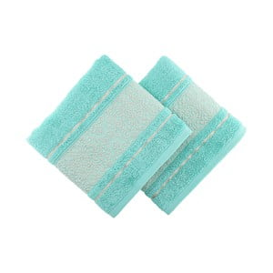 Zestaw 2 niebiesko-zielonych ręczników Fance, 50x90cm