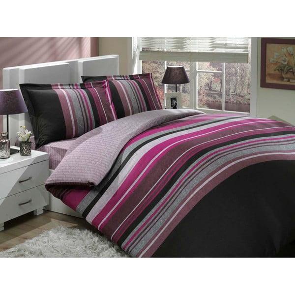 Zestaw pościeli z prześcieradłem Purple Lines, 200x220 cm