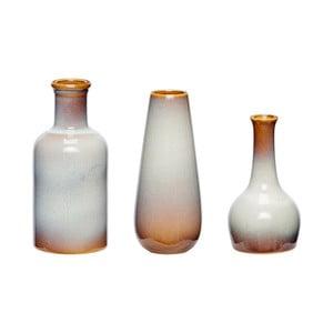Zestaw 3 brązowo-białych wazonów ceramicznych Hübsch Frej