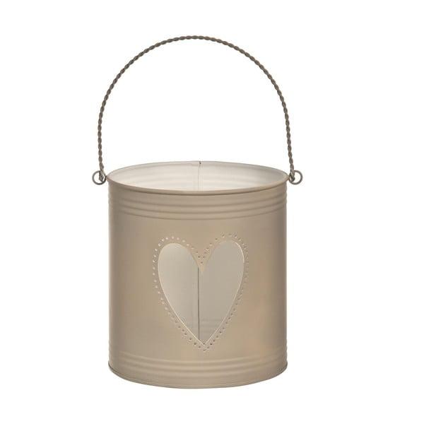 Zestaw 3 lampionów Heart Candles, brązowe