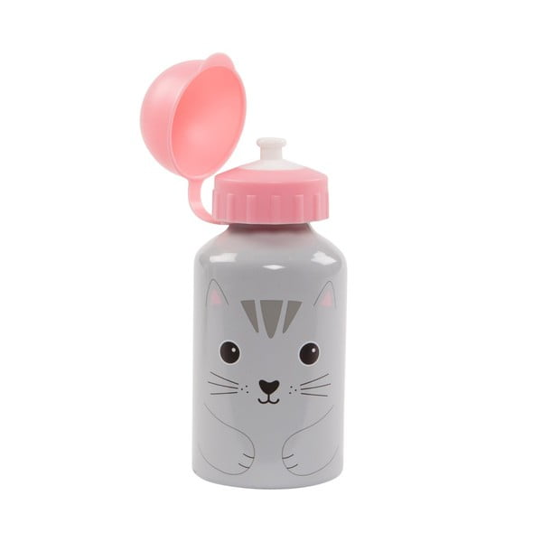Szaro-różowa butelka na wodę Sass & Belle Nori Cat