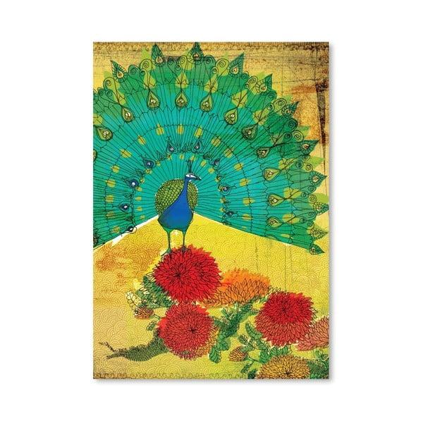 Plakat Peacock Wooden, 30x42 cm