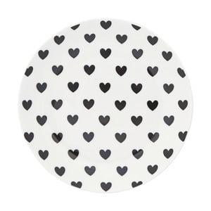 Talerz ceramiczny Miss Étoile Black Hearts, ⌀ 17 cm