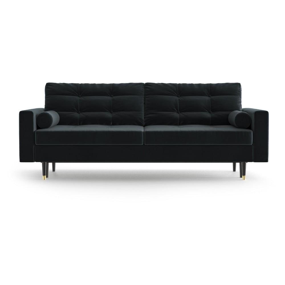 Antracytowa aksamitna rozkładana sofa Daniel Hechter Home Aldo