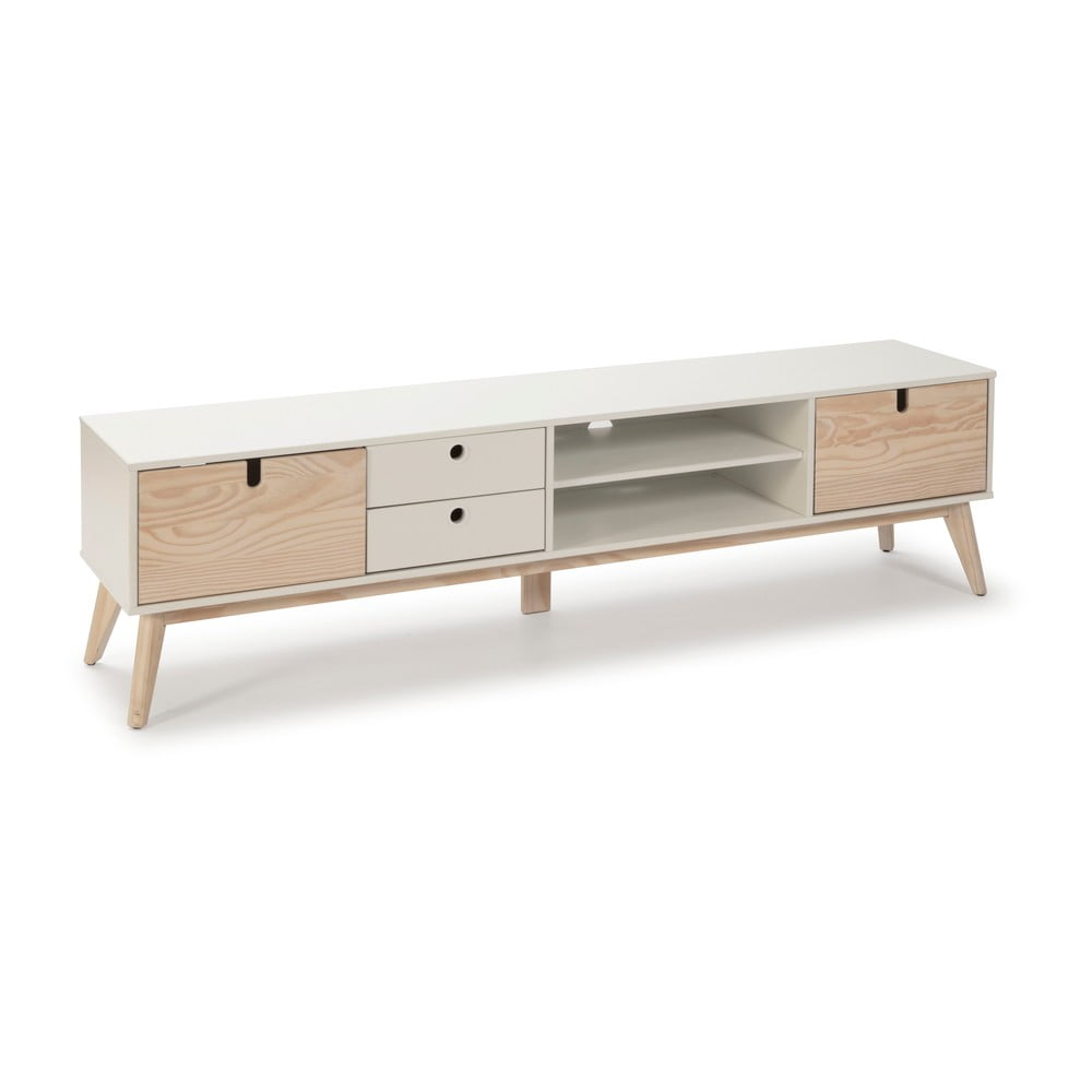 Biała szafka pod TV z nogami z drewna sosnowego Marckeric Kiara