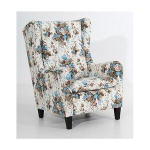 Brązowo-niebieski fotel w kwiaty Max Winzer Merlon