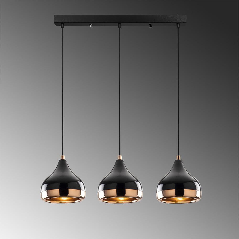 Czarna lampa wisząca z elementami w kolorze miedzi z 3 kloszami Opviq lights Yildo Long