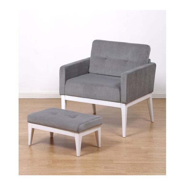 Fotel z podnóżkiem Preston Grey