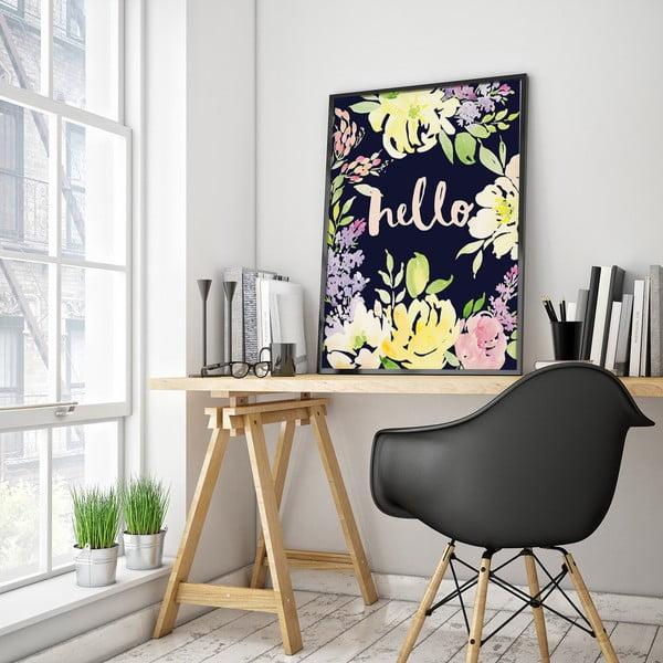 Plakat z żółtymi kwiatami Hello, 30 x 40 cm