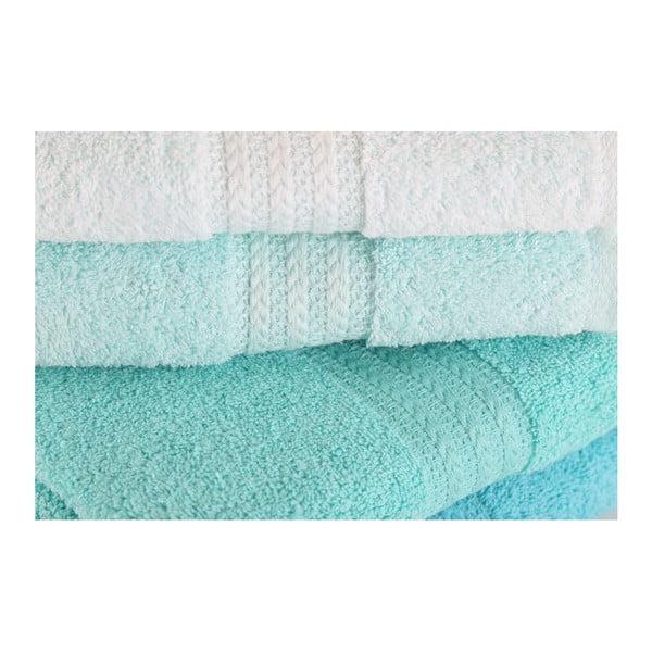 Zestaw 4 turkusowych ręczników Tropical, 50x90 cm
