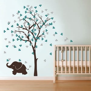 Naklejka ścienna Słoń i drzewo, turkus/szary, 2 arkusze, 70x50 cm