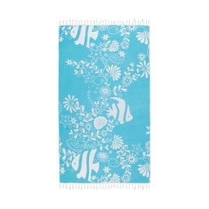 Turkusowy ręcznik hammam Kate Louise Helene, 165x100 cm