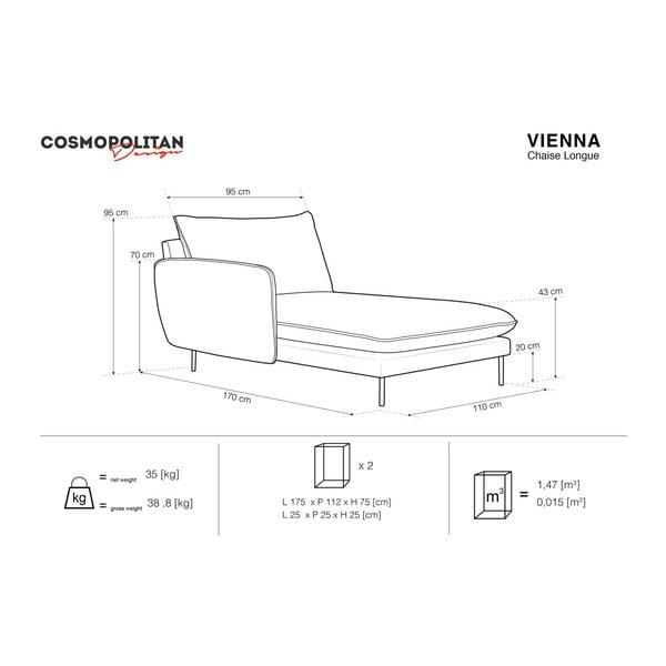 Beżowy szezlong z podłokietnikiem po prawej stronie Cosmopolitan Design Vienna