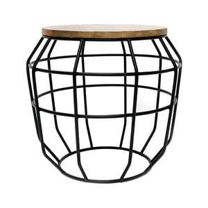 Czarny stolik z blatem z drewna mangowca LABEL51 Pixel, Ø 51 cm