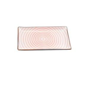 Talerz porcelanowy Pink Stripe, 21.6 cm