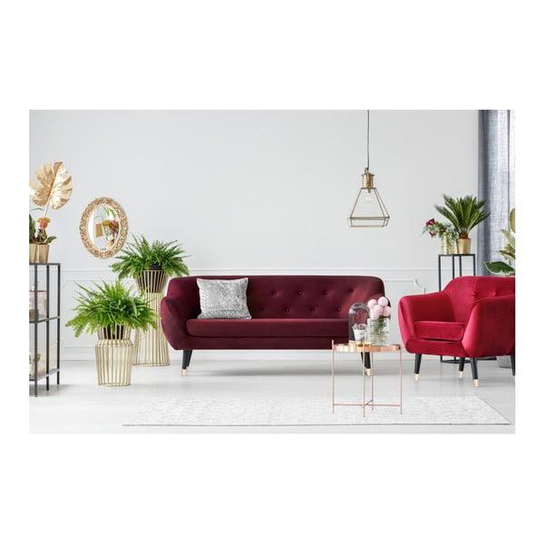 Bordowa sofa 3-osobowa z czarnymi nogami Mazzini Sofas Amelie